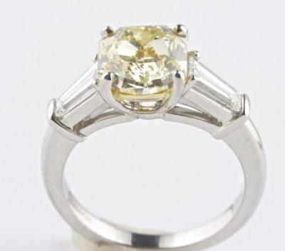 Fancy Yellow Diamond Platinum Ring
