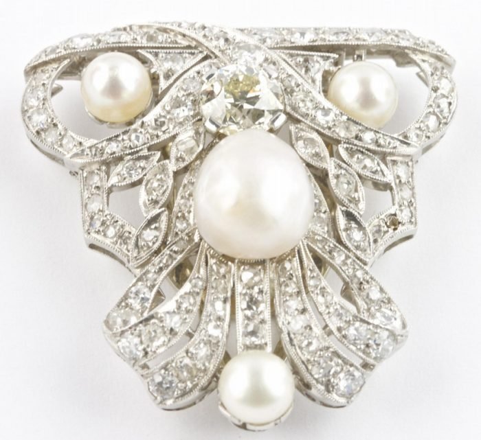Natural Pearl and Diamond Platinum Brooch