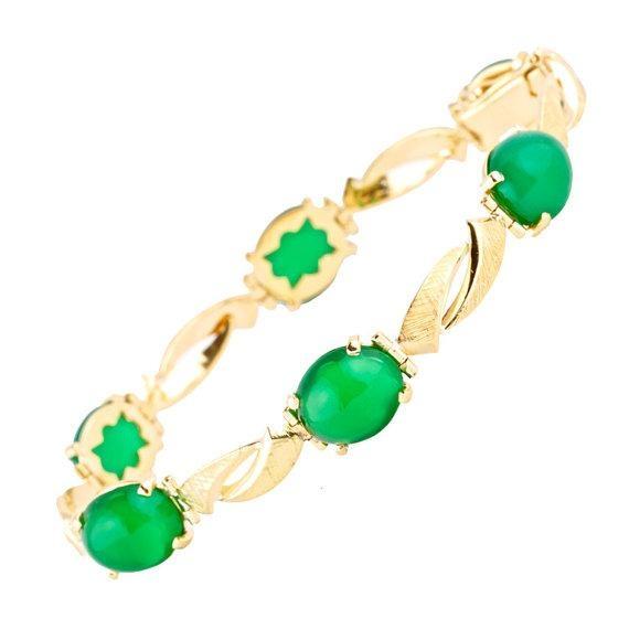 Chrysophase and Gold Bracelet