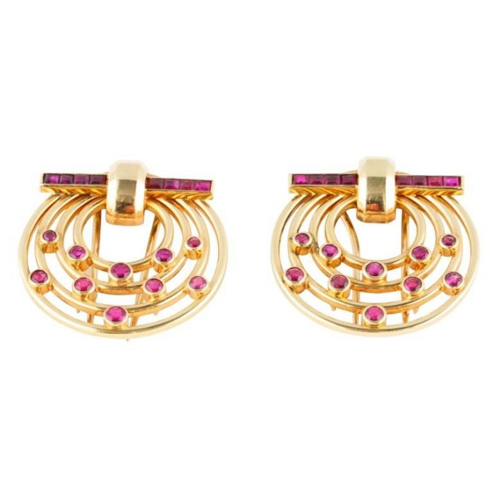 Tiffany Gold and Ruby Clips