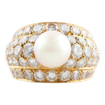 Cartier Paris Pearl and Diamond Ring