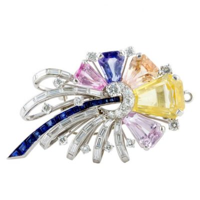 Oscar Heyman Multicolored Sapphire Brooch