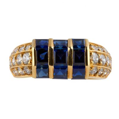 Van Cleef & Arpels Diamond Sapphire Gold Ring