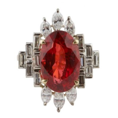 Rare Spinel and Diamond Ring