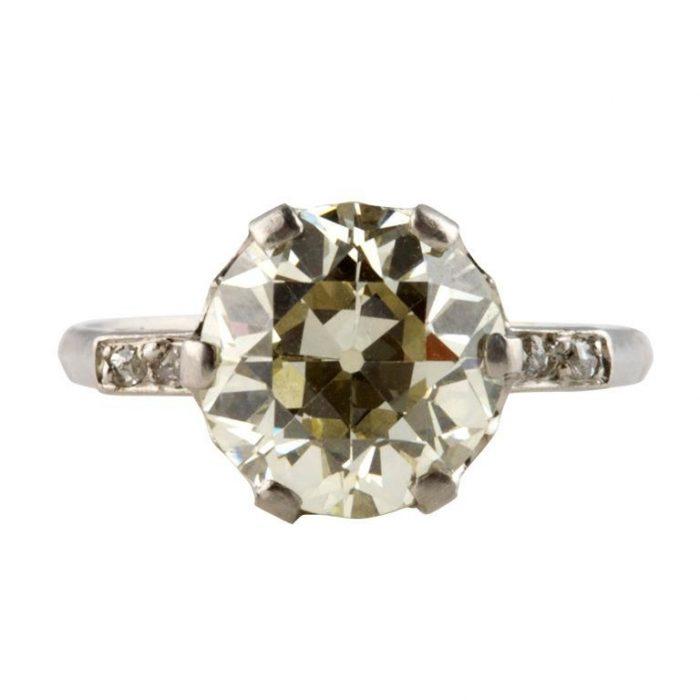 3.74 Carat Old Cut Diamond Engagement Ring