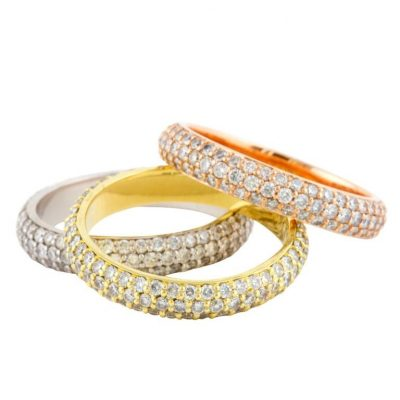 Multihued 18k Gold and Diamond Ring Set