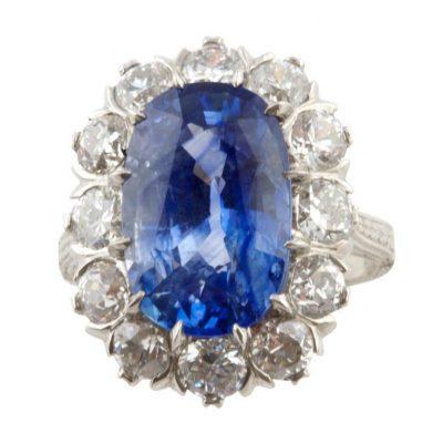 7.87 Carat Sapphire and Diamond Ring