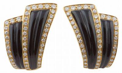 Van Cleef & Arpels Diamond Onyx Earrings