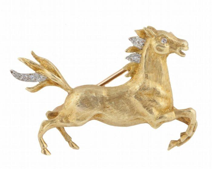 Golden Stallion Brooch