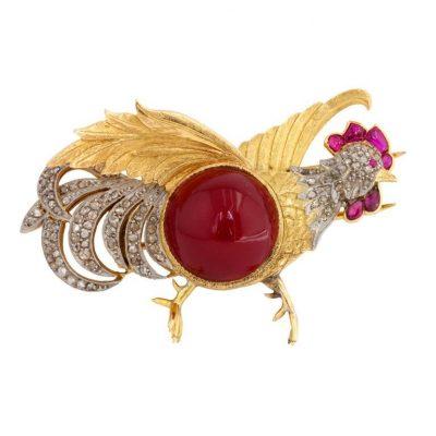 Carnelian Rooster Brooch