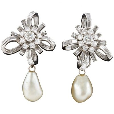GIA Natural Pearl and Diamond Bow Earrings