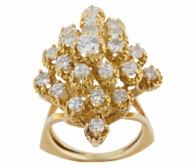 Honeycomb Diamond and Gold Ring