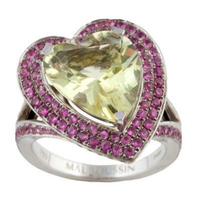 Maubossin Heart-Shaped Yellow Gemstone Ring