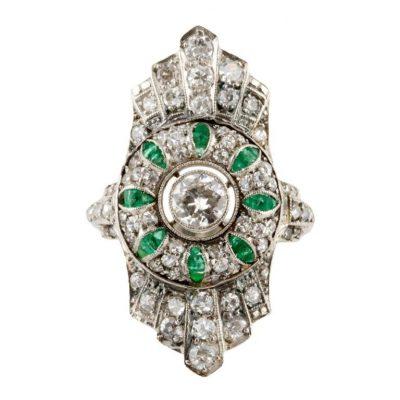 Art Deco Diamond and Emerald Ring