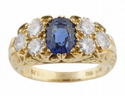 Intricate Sapphire and Diamond 18k Ring