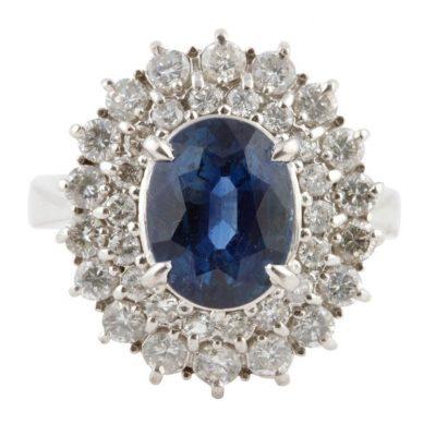 Layered Diamond and Sapphire Ring
