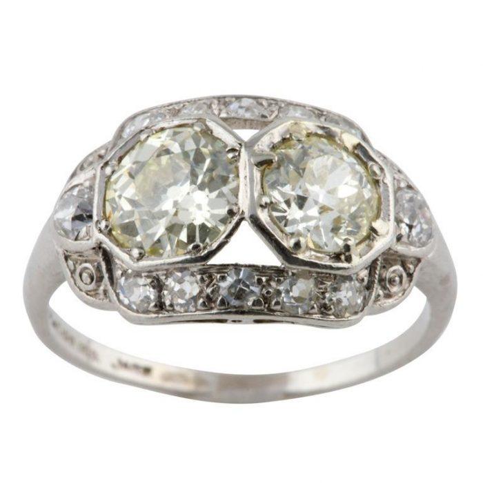 2 Stone Art Deco Diamond Ring