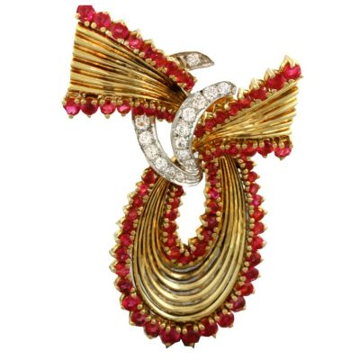 1950s Tiffany & Co. Ruby Diamond Brooch