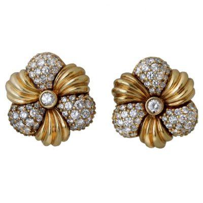 HAMMERMAN BROS. Diamond and Gold Flower Motif Earrings