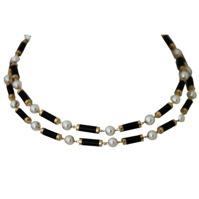 Long Onyx and Pearl Necklace