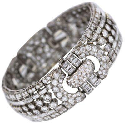 Wide 1940's Platinum and Diamond Bracelet