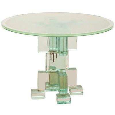 Italian 70's Glass Block Table