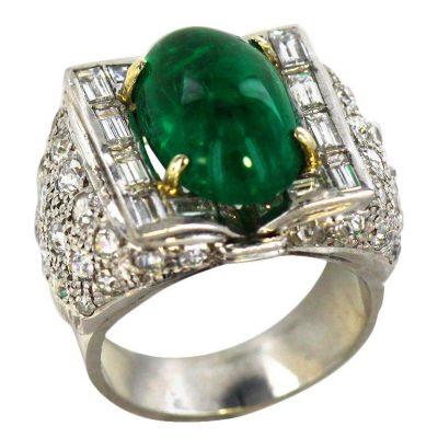 Dramatic Art Deco Emerald Diamond Platinum Ring