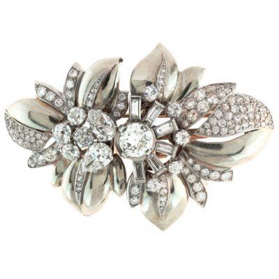 BOUCHERON Paris Floral Retro Double Diamond Platinum Clips
