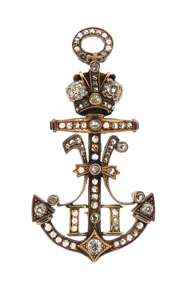 Imperial Russian Czar Nicholas II Diamond Anchor Brooch