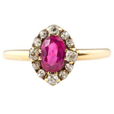Burmese Ruby Diamond Engagement Ring