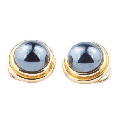 Tiffany Hematite Gold Earrings