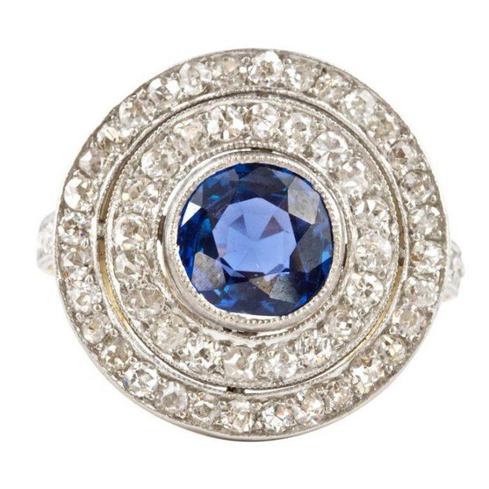 Belle Epoque Burmese Sapphire Diamond Ring
