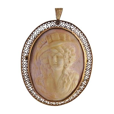 Victorian Carved Angel Skin Coral Cameo Pin / Pendant