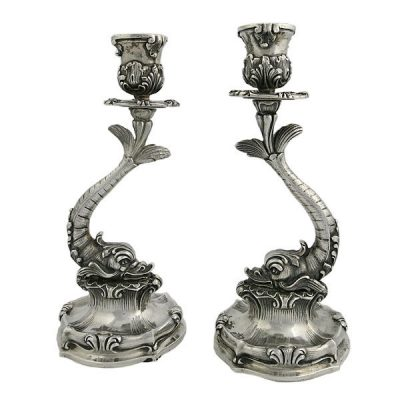 Pair Buccellati Sterling Silver Dolphin Candlesticks