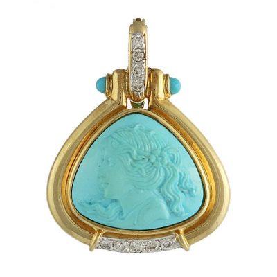 18K Gold Persian Turquoise Cameo and Diamond Pendant