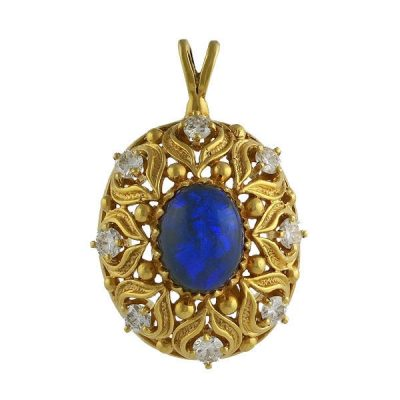 Vintage 14K Gold Black Opal and Diamond Pendant