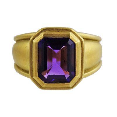 Kieselstein Cord 18K Gold Amethyst Ring 1988