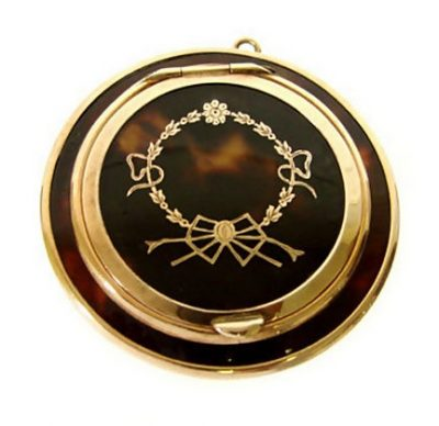 English 9 K Gold And Pique Compact C 1890