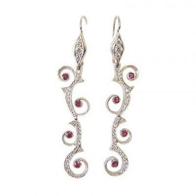 Cathy Waterman Platinum Diamond and Ruby Earrings
