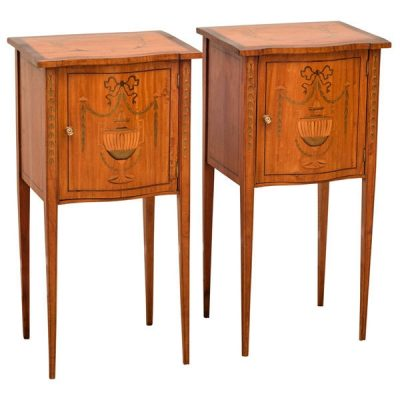 Pair English Satinwood Side Tables C 1880