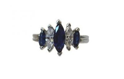 Oscar Heymen Platinum Diamond And Sapphire Ring