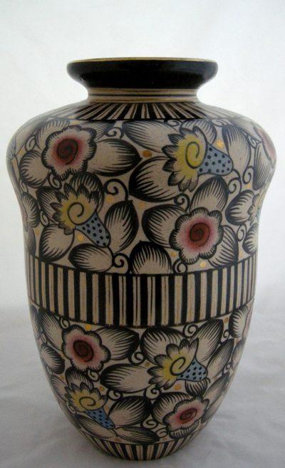 """Faience Saint Ghislain 15"""" Vase by Emle Lombart"""