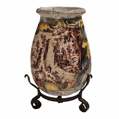Large Italian Faience Urn On Stand 1920