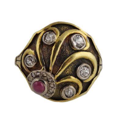 Cozzolino Art Deco 18K Gold Diamond and Ruby Ring