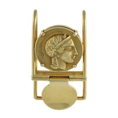Men's 18K Gold Greek Classical Coin Money Clip