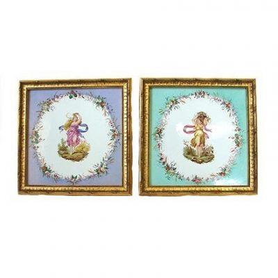Rare Pair 19th C Copeland Porcelain Plaques