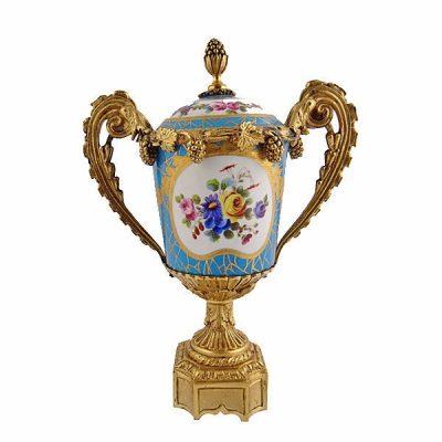 French Sevres Porcelain Urn With Gilt Bronze Mounts