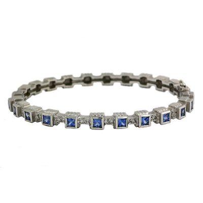Doris Panos 18K W. Gold Blue Sapphire Bangle Bracelet