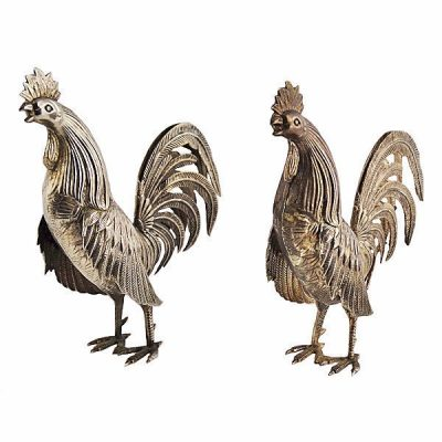 Pair Of Continental Silver Roosters Circa 1920