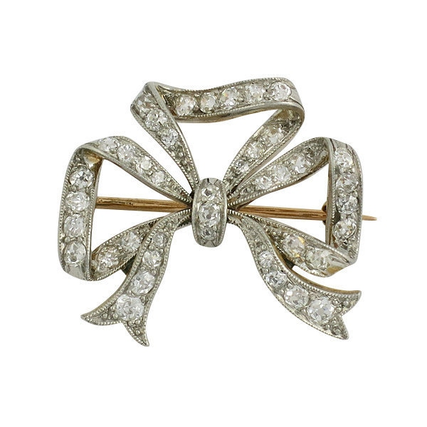 Edwardian Platinum on 18K Gold Diamond Bow Pin